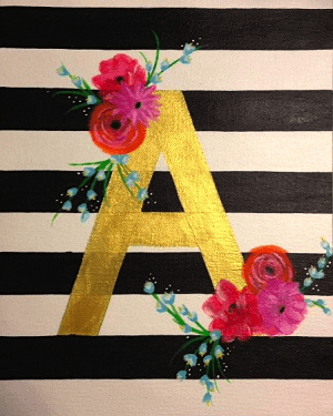 elegant initial painting sips swirls artsy rose academy