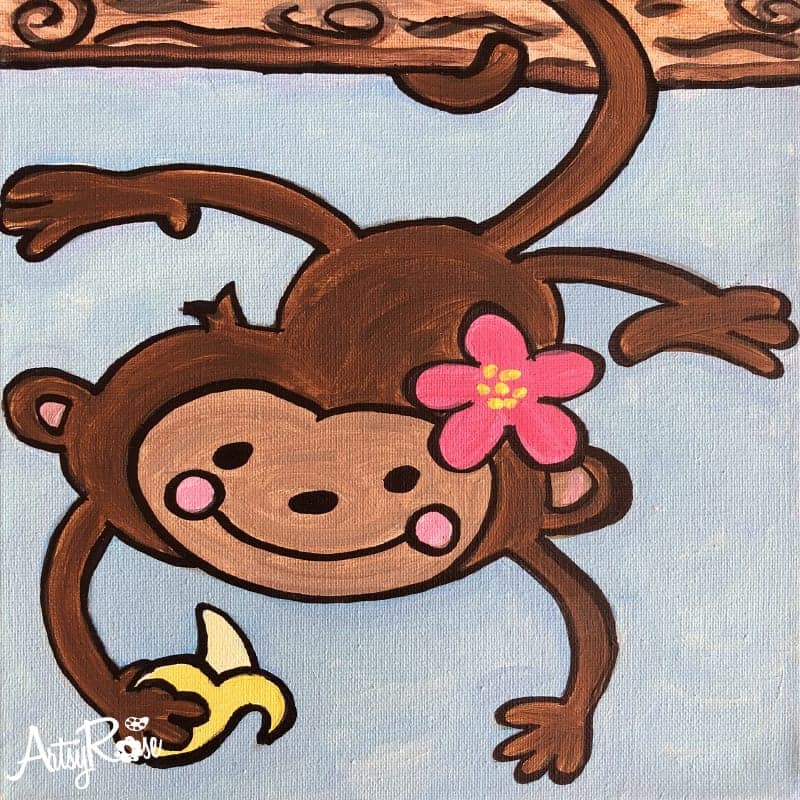 Adorable Monkey Painting Class Canvas Amp Cupcakes All