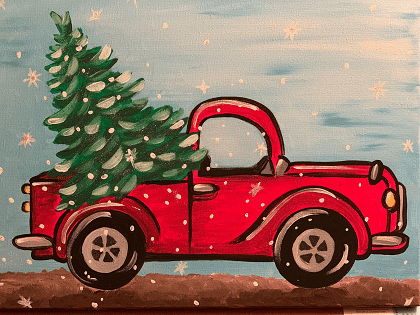 Old Truck With Christmas Tree Painting.Old Fashioned Christmas Painting Sips Swirls Artsy Rose