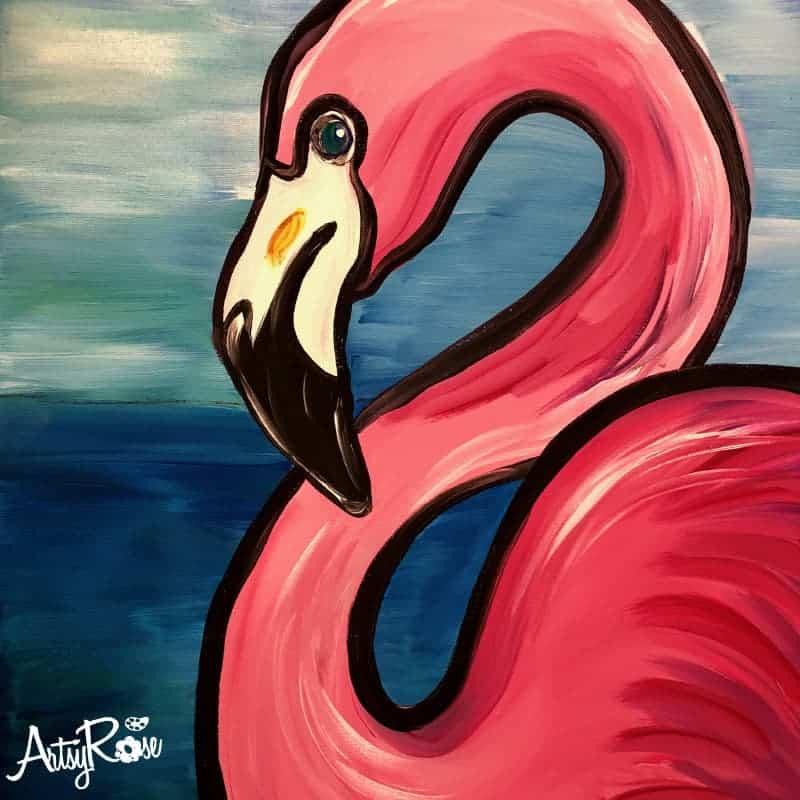 Painting Class Flamingo Fun Oklahoma City, Edmond, Yukon, Mustang at Artsy Rose Academy