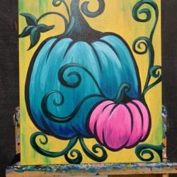 Colorful pumpkin social painting class at Artsy Rose
