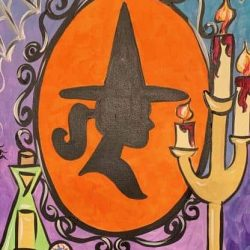 Spooky Halloween painting in northwest oklahoma city